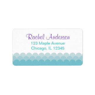 mermaid return address labels, water ocean waves label