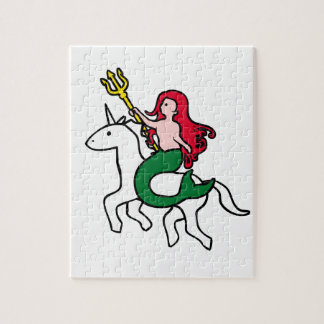Mermaid Riding Flying Unicorn Jigsaw Puzzle