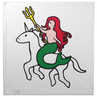 Mermaid Riding Flying Unicorn Napkin