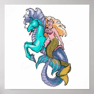 mermaid riding seahorse posters