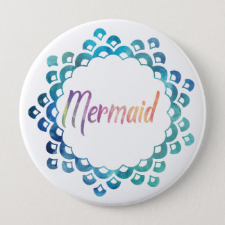 MERMAID SCALE MONOGRAM PURPLE AND TEAL 10 CM ROUND BADGE