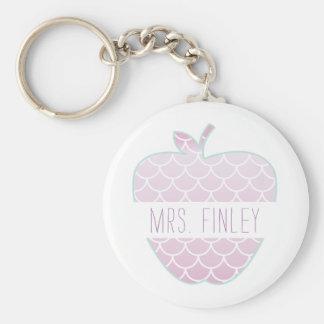 Mermaid Scales Apple Personalized Teacher Key Ring