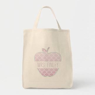 Mermaid Scales Apple Personalized Teacher Tote Bag