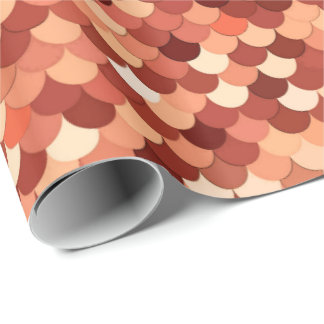 Mermaid Scales, Copper, Brown, Cream, and Tan Wrapping Paper