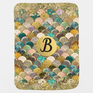 Mermaid Scales Glam Glitter Monogram Reversible Baby Blanket