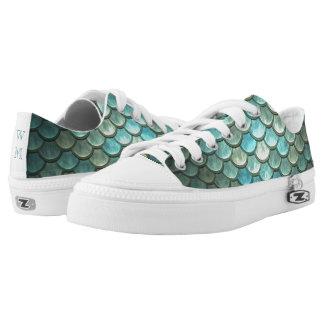 Mermaid Scales in Teal and Silver Monogram Printed Shoes