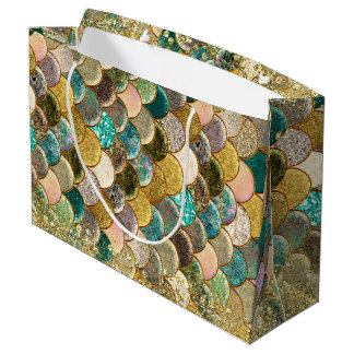 Mermaid Scales Multi Color Glitter Glam Party Large Gift Bag
