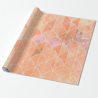 Mermaid scales. Peach and pink watercolors. Wrapping Paper