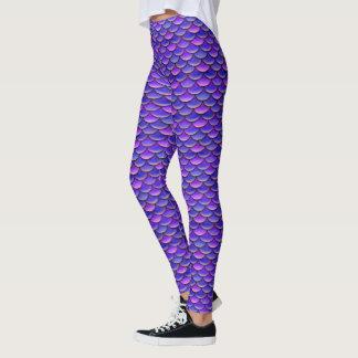 Mermaid Scales Purple and Pink pattern Leggings