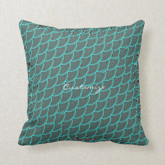 mermaid scales Thunder_Cove aqua/black Throw Pillow