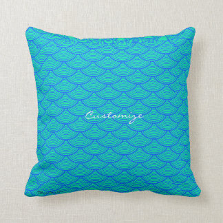 mermaid scales Thunder_Cove aqua/blue Throw Pillow