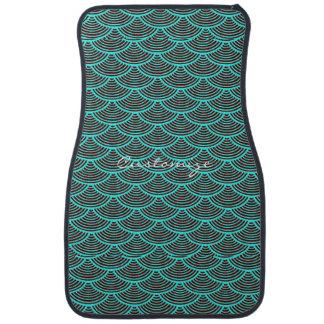 mermaid scales Thunder_Cove black/aqua Car Mat