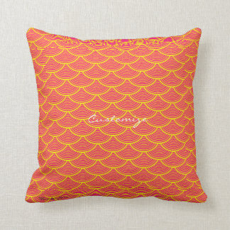 mermaid scales Thunder_Cove orange/yellow Throw Pillow