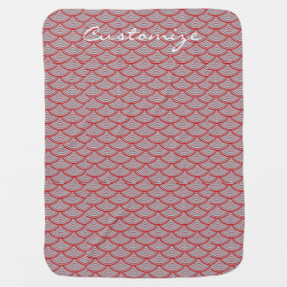 mermaid scales Thunder_Cove red/white Baby Blanket