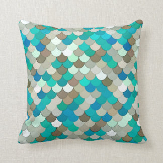 Mermaid Scales, Turquoise, Aqua, Taupe, & Cream Throw Pillow