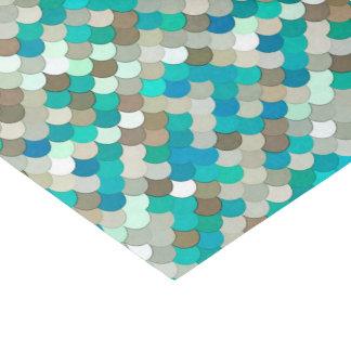 Mermaid Scales, Turquoise, Aqua, Taupe, & Cream Tissue Paper