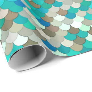 Mermaid Scales, Turquoise, Aqua, Taupe, & Cream Wrapping Paper