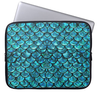 Mermaid Scales - Turquoise Blue Laptop Sleeve