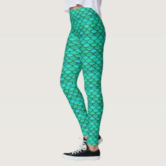 Mermaid Scales Turquoise Green pattern Leggings
