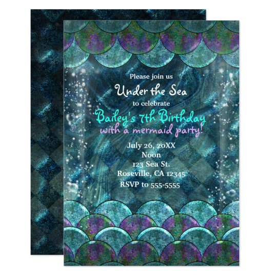 Mermaid Scales Under the Sea Party Invitations
