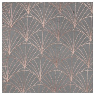 Mermaid scallop rose gold grey cement pattern fabric