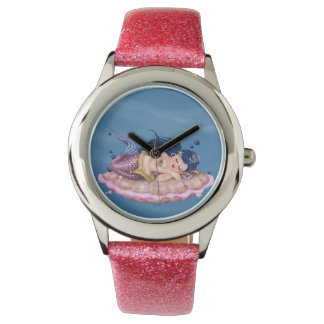 MERMAID SEA FAIRY CARTOON Pink Glitter Watch