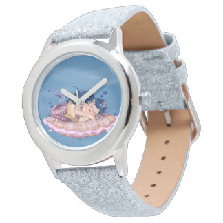 MERMAID SEA FAIRY CARTOON Silver Glitter Watch