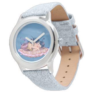 MERMAID SEA FAIRY CARTOON Silver Glitter Wrist Watches