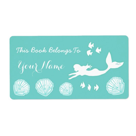 Mermaid Sea Green Custom Bookplate Labels