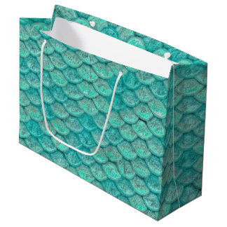 Mermaid Sea Green Scales Large Gift Bag