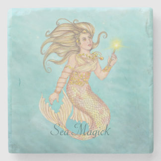 Mermaid Sea Queen Fia Fantasy Stone Beverage Coaster