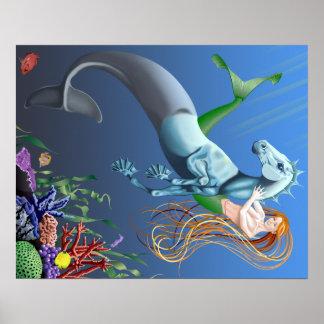 Mermaid Seahorse Fantasy Illustration Poster