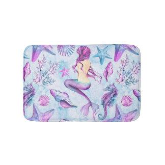 Mermaid Seahorse Starfish Lavender and Blue Bath Mats