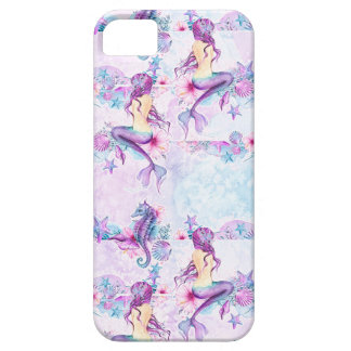Mermaid Seahorse Starfish Lavender & Aqua Blue iPhone 5 Cover