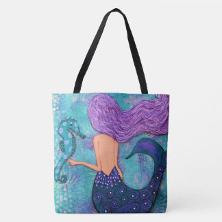 Mermaid Seahorse Tote Bag Purple and Teal