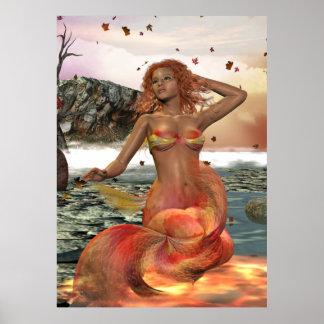 Mermaid Seasonal Series LUCY Autumn Pinup Print