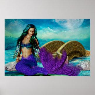 """Mermaid Seasons Series """"McBeth"""" WINTER Art Poster"""