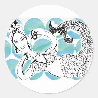 Mermaid - She Preferred Shoes Round Sticker