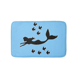Mermaid Silhouette Blue Bath Mat