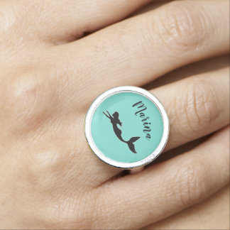 Mermaid Silhouette Turquoise Personalized Ring