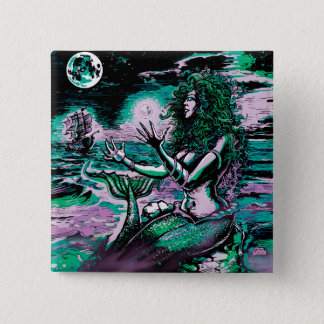 Mermaid Siren Atlantis Pearl 15 Cm Square Badge
