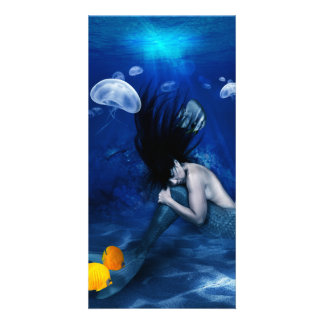 Mermaid Sleeping at the Bottom of the Ocean Personalized Photo Card