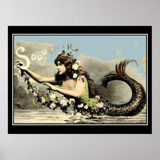 Mermaid Souvenir Vintage Tourist Poster