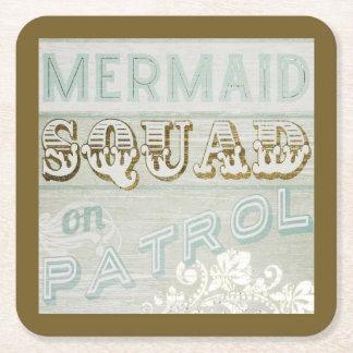 Mermaid Squad on Patrol Square Paper Coaster