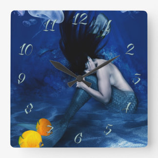 Mermaid Square Wall Clock