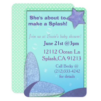 Mermaid tail baby shower invitation