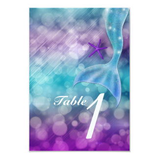 Mermaid Tail Enchanted Sea Party Table Number Card 9 Cm X 13 Cm Invitation Card