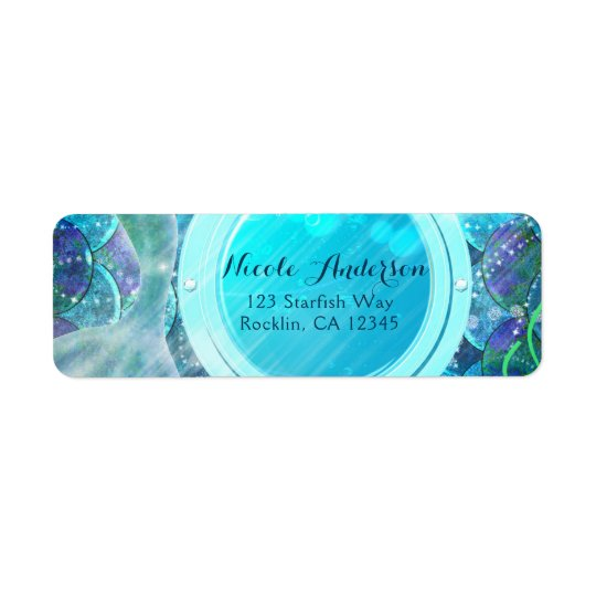 Mermaid Tail Magic Under the Sea Birthday Party Return Address Label