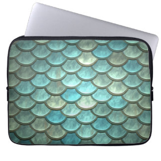 Mermaid Tail Scales Soft Blue Green Turquoise Laptop Sleeve