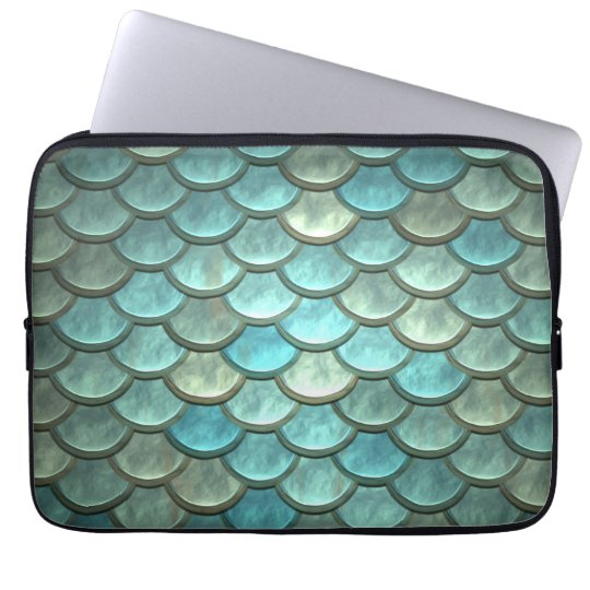 Mermaid Tail Scales Soft Blue Green Turquoise Laptop